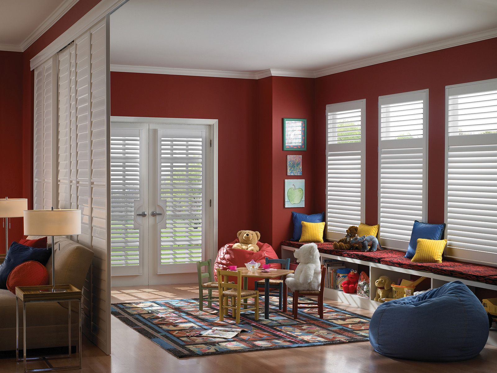 Cotton • 3½ inch louvers on Room Divider/By-Pass Track System with Decorative Valance • 2½ inch louvers on French Door Cut-out and windows • Divider Rail • Clearview® hidden rear tilt